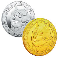 2Pcs Dogecoin Military Challenge Coins Gold Silver Plated Doge Coin Collectibles