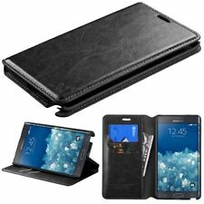 For Samsung Galaxy Note Edge Leather Flip Wallet Case Cover Pouch Stand BLACK
