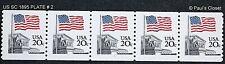 US SC1895 PLATE # 2 COIL STRIP OF 5 20¢ MNH OG TAGGED P 10 V. 1981 VERY FINE