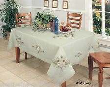 "Ribbon Embroidered Daisy Floral Sheer Tablecloth 70x120"" Ivory Creative Linens"
