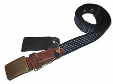 Rag and Bone England Military Army Leather Brass Buckle Navy Blue Belt 40