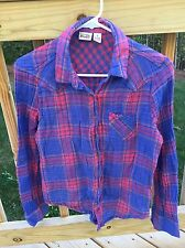 Womens Long Sleeve Checkered Red Blue 100% Cotton Shirt Mudd Size S