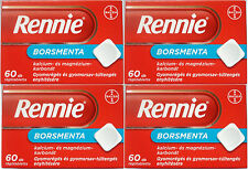 Rennie Peppermint Relieves Heartburn Indigestion Upset Stomach 4 x 60 Tablets