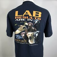 DUCKS UNLIMITED LAB RESULTS ARE IN DOGS NAVY BLUE T SHIRT MENS SIZE XL