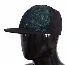 NWT $300 DOLCE & GABBANA Green Black Brocade Silk Cap Hat Mens Strap s. 59 / L
