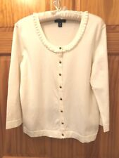 LANDS  END Cotton Blend Ivory Scoop Neck Cardigan Sweater - Women s M ... bbe89123f