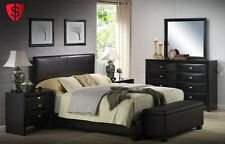 Queen Size Bed With HeadBoard FootBoard Rails Bedroom Furniture Faux Leather