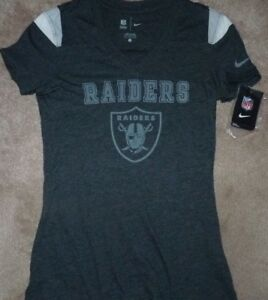NEW NFL Oakland Raiders Jersey Style T Shirt Women Ladies S Small NIKE NEW NWT