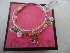 Alex and Ani CORAL SET OF 2 Charm Bangles Two Tone New W/Tag Card & Box