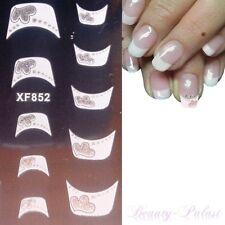 French Sticker Weiß Silber Glitzer Nagelsticker Smile Line Nailart Tattoo XF852