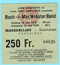 1979 Rush Max Webster concert ticket stub Maekeblijde Belgium Hemispheres Tour