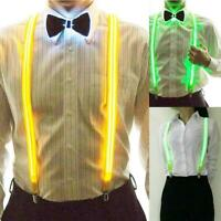 Light Up Men's LED Suspenders / Bowtie Perfect for Music Festival Costume Party