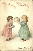 Swedish Easter Children Exchange Fancy Eggs - Jenny Nystrom c1910 Postcard