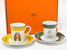 Hermes Porcelain Cup Saucer Dog Animal Tableware Yellow Green Auth New Unused