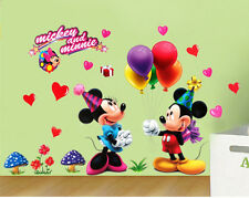 Removable MICKEY MINNIE MOUSE Ballons Party Wall Stickers Decor Kids Room Mural