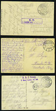 GERMANY 1915-17 THREE WWI FIELDPOST CARDS FROM DIFFEREN