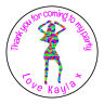 Disco Woman 70's 60's Personalised Thank You Sticker Party Sweet Cone Birthday