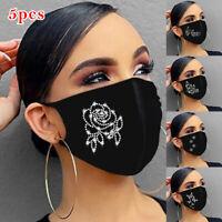 5PC Weihnachten Mund-Nasen-Maske waschbar Stoffmaske wiederverwendbar Schwarz