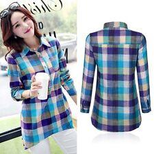 Ladies Checked Tartan Plaid Shirt Lumberjack Long Sleeve Button Down Blouse Tops
