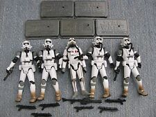 Star Wars Hasbro IMPERIAL JUMP Trooper 5 Figure Lot EXTRA Weapons Bases 3.75""