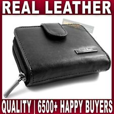 Ladies REAL LEATHER PURSE zip round wallet 6 card slots ID window QUALITY Womens