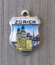 Vintage enamel ZURICH Switzerland silver travel bracelet shield charm