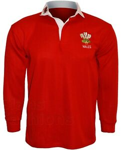 Wales Rugby Shirt Retro Classic Traditional Welsh Top All Sizes S - 5XL