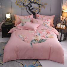 Colorful Floral Duvet Cover Queen King Sz 4Pcs 100%Cotton  Bedding Set Bed Sheet
