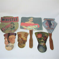 6 Vintage Hand Held Fans Cardboard Advertising Whistle Wenoka 1928