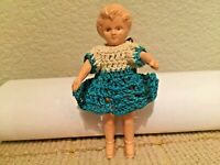 """Celluloid Plastic Child Girl Vintage 1930's Jointed Arms 4"""" Doll"""