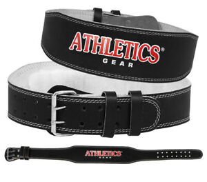 "Weight Lifting 4"" Leather Belt Back Support Strap Gym Fitness Training Athletics"