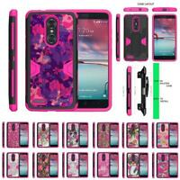 For ZTE ZMax Pro / Blade X Max Case Holster Clip Dual Kickstand Armor Pink Cover
