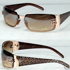 New DG Womens Fashion Designer Sunglasses Shades Rectangular Wrap Gold Brown
