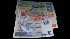 Singapore Bird $100, $50, $20, $10 and $1 note