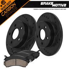 Rear Black Brake Rotors + Carbon Ceramic Pads For 2007 - 2017 Jeep Wrangler JK