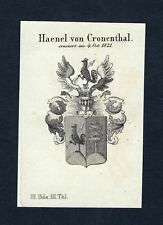 1820 Haenel Cronenthal Erich Wappen Adel coat of arms Kupferstich engraving