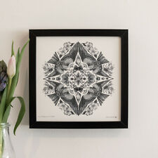 FRAMED PRINT OF DOT WORK ART DEPICTING FLORA & FAUNA OF BRITAIN - HEDGEROW