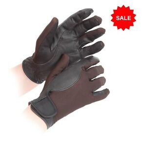 SALE £3.95 Shires Super Cool Riding Gloves Leather & Mesh Brown Childs Age 8-10