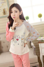 Cartoon Cats Cotton Set Of Shirt Pants Women's Sleepwear Pajama Nightwear M-3XL