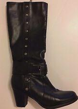 """Women Funky Knee High Black Boots 3"""" Heel Studs Buckles Zip Sz 9M Kohls Buchman"""