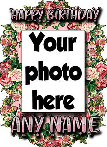 Personalised photo card birthday card any name/age female girl daughter flowers