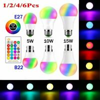 2/4/6 X B22 E27 RGB LED Globe Lamp Colour Changing Light Bulbs IR Remote Control
