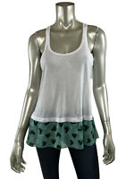 Anna Sui Tank Top S White Stretch Knit Scoop Green Polka Dot Chiffon Trim Shirt
