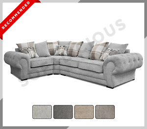 Chesterfield VERONA Corner Sofa Fabric Right or Left Hand Grey Cream Mocha