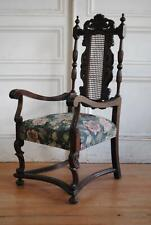 Handsome Antique English William & Mary Style Oak & Cane Armchair - Accent Chair