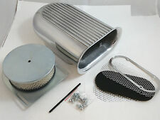 Polished Aluminum Hilborn Style Full Finned Hood Air Scoop Kit Single 4 BBLCarb