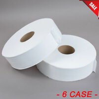 (6 Case) Large 1 Ply Jumbo Toilet Paper Roll with 12'' Diameter White Janitorial
