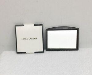 Estee Lauder Purse Mirror Folding White Black + Free Brown Tortoise Plastic Vntg