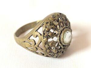 Ancient Ring Bronze Vintage-Antique Roman Old Artifact Stunning Stone Rare Type