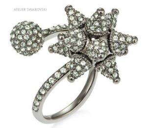 NIB$249 Atelier Swarovski Kalix Spiral Ring ruthenium plated Green Size 55 58